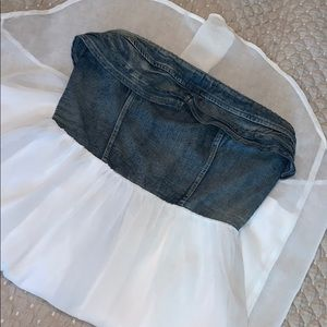Dresses & Skirts - Denim bustier chiffon dress
